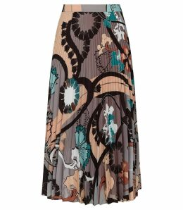 Reiss Lolita - Pleated Midi Skirt in Multi, Womens, Size 14