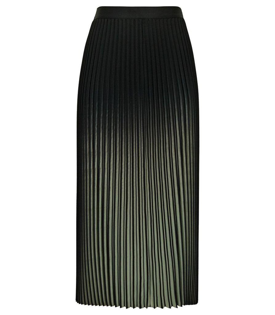 Reiss Marlie - Ombre Pleated Midi Skirt in Black/khaki, Womens, Size 14