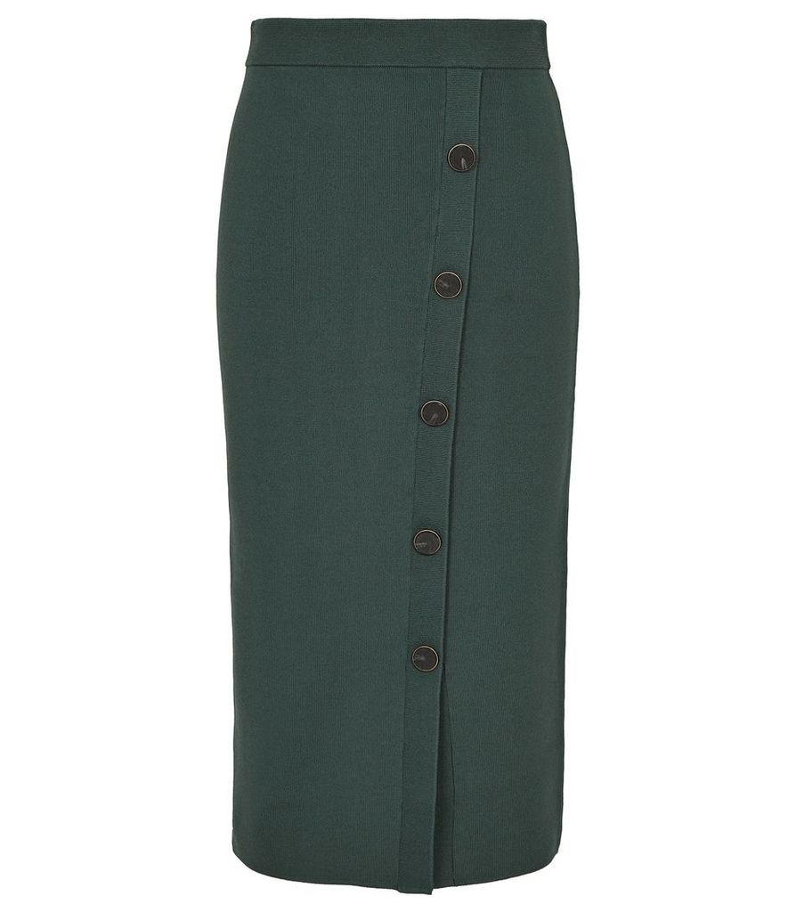 Reiss Hatty - Button Front Pencil Skirt in Green, Womens, Size XXL