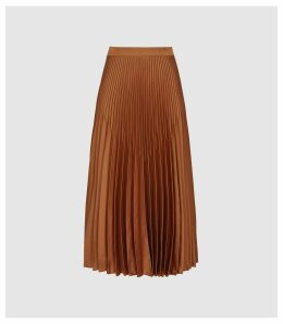 Reiss Isidora - Pleated Midi Skirt in BRONZE, Womens, Size 14