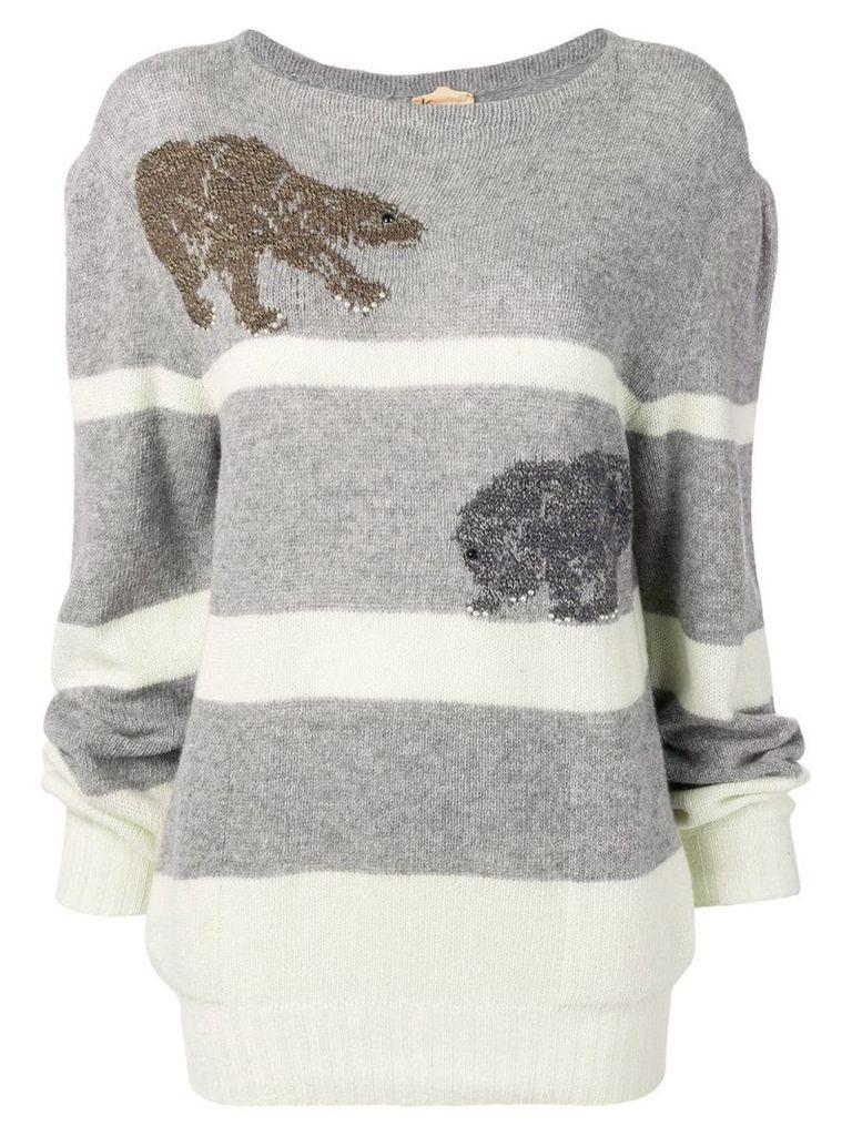 Krizia Vintage embroidered jumper - Grey