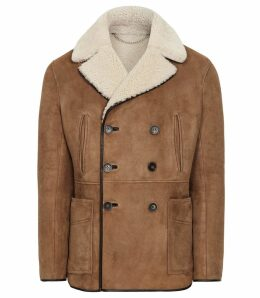 Reiss Brodie - Shearling Double Breasted Coat in Tan, Mens, Size XXL