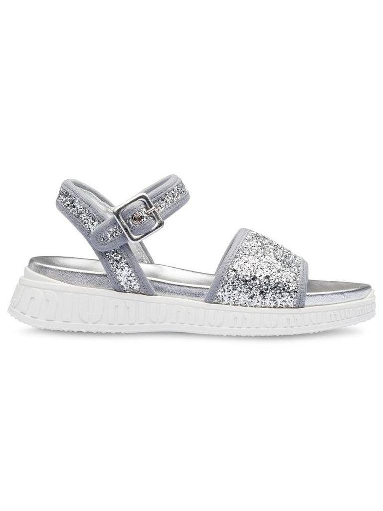 Miu Miu Miu Run glitter sandals - Silver