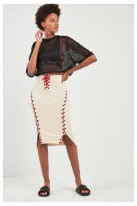 Womens Ivy Park Sand Craft Skirt -  Cream