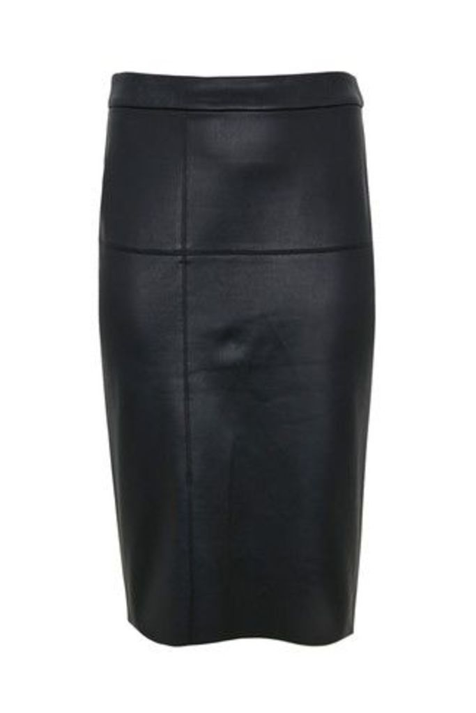 Womens Evans Black PU Pencil Skirt -  Black