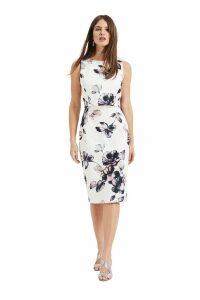 Womens Phase Eight White Gracie Floral Scuba Dress -  White