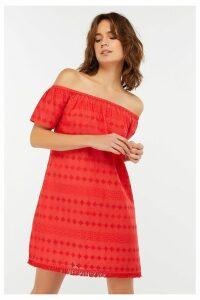 Womens Accessorize Red Off Shoulder Schiffli Dress -  Red