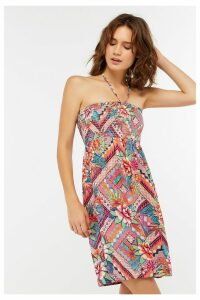 Womens Accessorize Pink Mozambique Printed Bandeau Dress -  Pink