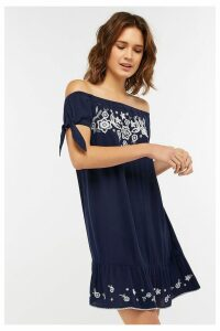 Womens Accessorize Blue Indi Embroidered Off Shoulder Dress -  Blue