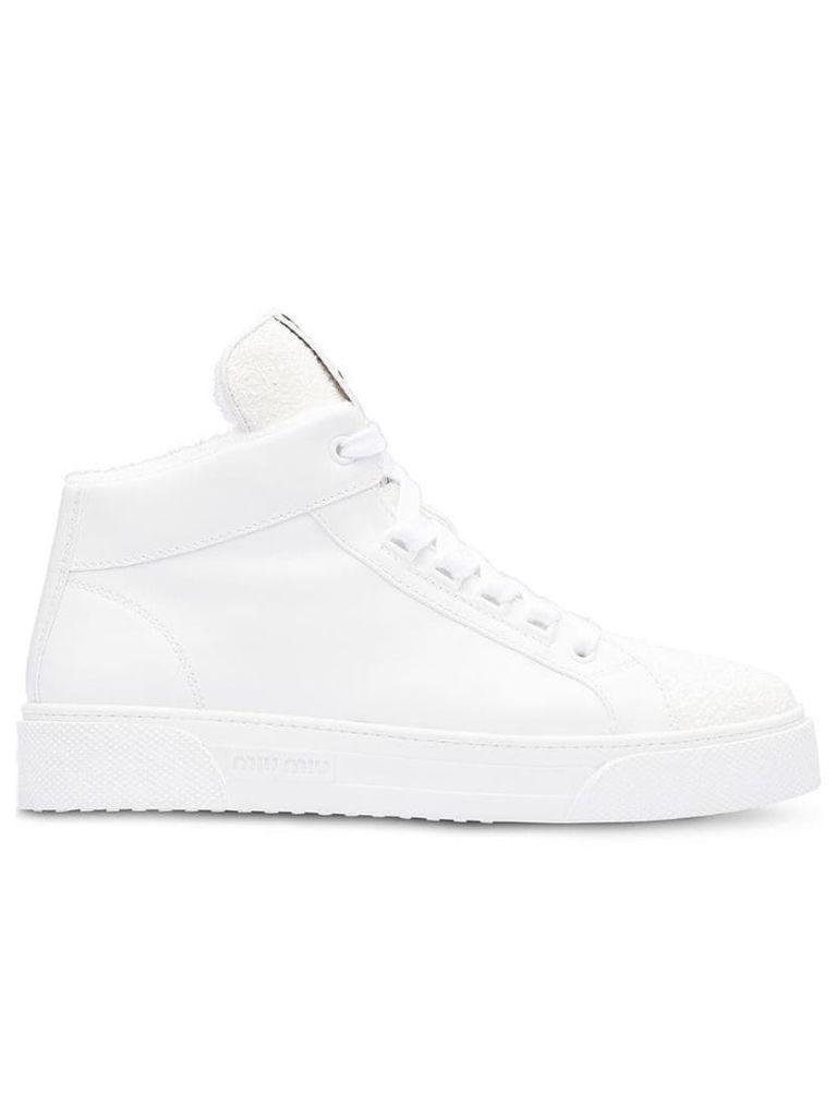 Miu Miu logo glitter high-top sneakers - White