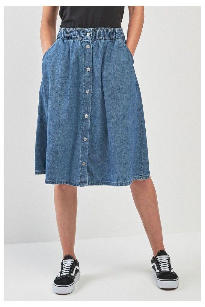 Womens Levi's Light Weight Midi Skirt -  Blue