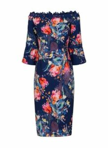 Womens **Paper Dolls Multi Floral Print Bardot Dress- Multi Colour, Multi Colour