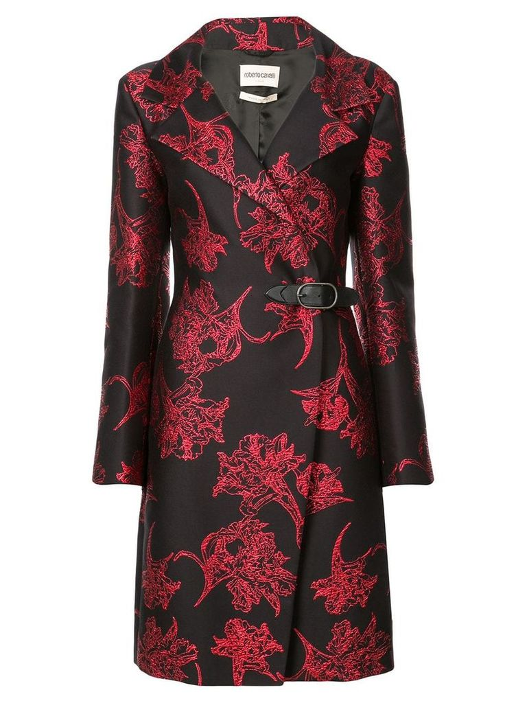 Roberto Cavalli floral jacquard coat - Black