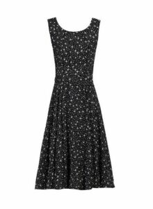 Womens *Jolie Moi Black Star Printed Fit And Flare Dress- Blue, Blue