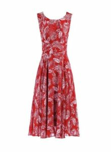 Womens *Jolie Moi Red Printed Fit And Flare Dress- Red, Red