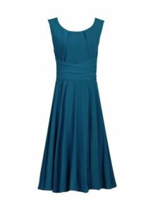Womens *Jolie Moi Petrol Blue Belted Fit And Flare Dress- Blue, Blue