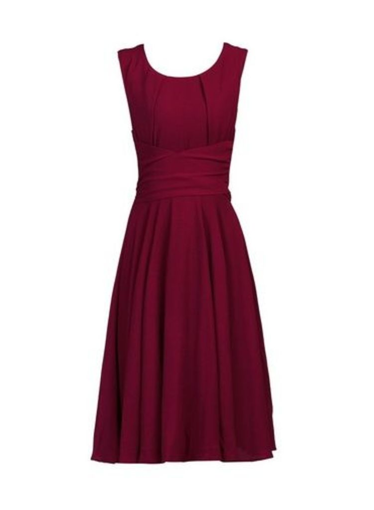 Womens *Jolie Moi Burgundy Belted Fit And Flare Dress- Red, Red
