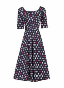 Womens *Jolie Moi Navy Printed Fit And Flare Dress- Blue, Blue