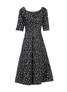 Womens *Jolie Moi Black Pattern Midi Fit And Flare Dress- Black, Black
