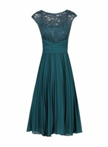 Womens *Jolie Moi Petrol Blue Lace Fit And Flare Dress- Blue, Blue