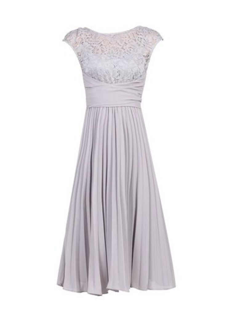 Womens *Jolie Moi Silver Grey Lace Dress- Silver, Silver