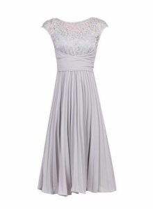 Womens *Jolie Moi Silver Grey Lace Dress- Silver, Silver