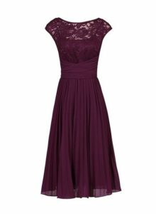 Womens *Jolie Moi Burgundy Lace Dress- Red, Red