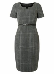 Womens Grey Checked Notch Neck Shift Dress- Grey, Grey