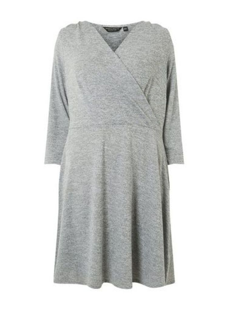 Womens **Dp Curve Grey Brushed Wrap Dress- Grey, Grey
