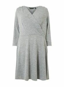Womens **Dp Curve Grey Brushed Wrap Dress- Grey, Grey