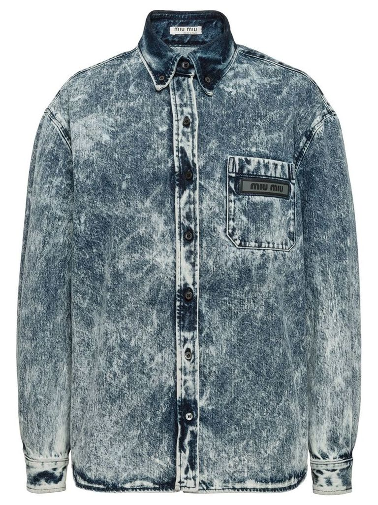Miu Miu marbleized denim shirt - Blue