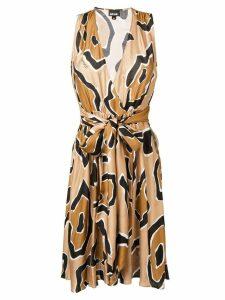Just Cavalli abstract print midi dress - Neutrals