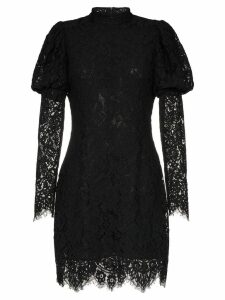 Ganni Everdale puff sleeve lace cotton blend mini dress - Black
