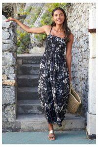 Womens Next Black Floral Maxi Dress -  Black
