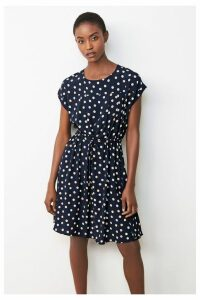 Womens Next Navy Spot Drawstring T-Shirt Dress -  Blue