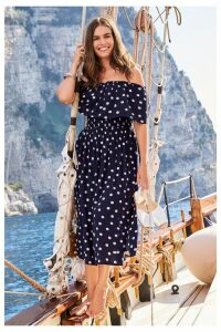 Womens Next Multi Matching Family Womens Multi Fruit Print Off The Shoulder Dress -  Blue