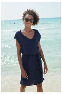 Womens Next Navy Tie Waist Dress -  Blue