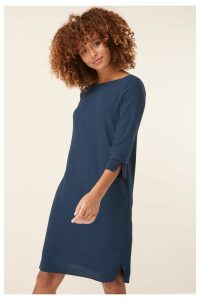 Womens Next Navy 3/4 Sleeve Square Neck Dress -  Blue