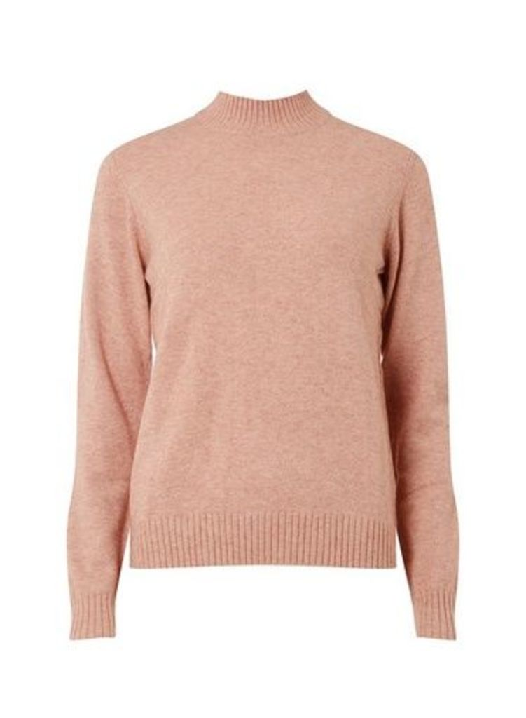 Womens **Vila Pink Turtle Neck Knitted Top- Pink, Pink