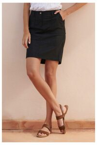 Womens Next Black Linen Blend Skirt -  Black