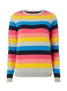 Womens Rainbow Fine Knitted Jumper- Multi Colour, Multi Colour