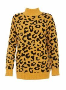 Womens *Quiz Mustard Black Leopard Print Jumper- Mustard, Mustard