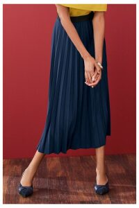 Womens Next Navy Pleat Skirt -  Blue