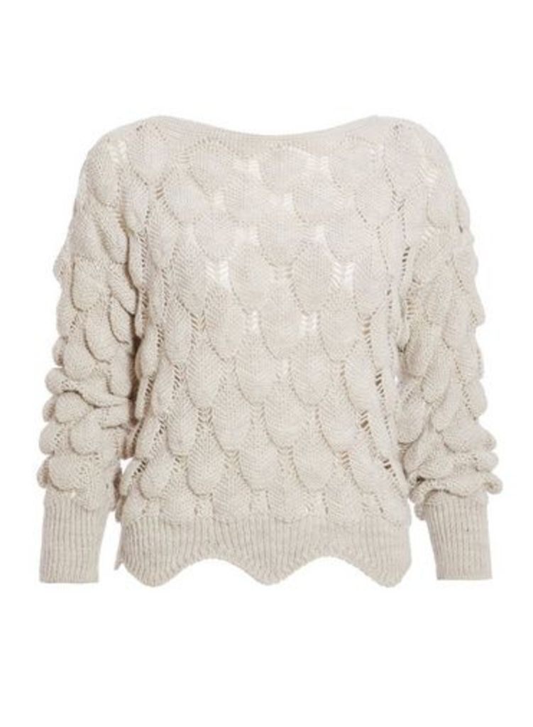 Womens *Quiz Oatmeal Knitted Bubble Long Sleeve Jumper- Oatmeal, Oatmeal