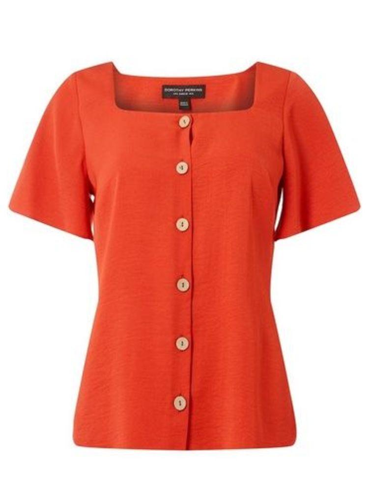 Womens Rust Button Square Neck Shirt- Rust, Rust