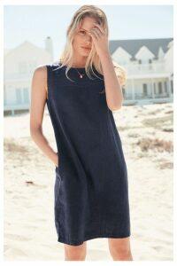 Womens Next Navy Linen Blend Shift Dress -  Blue