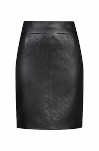 Lambskin pencil skirt with perforated detailing
