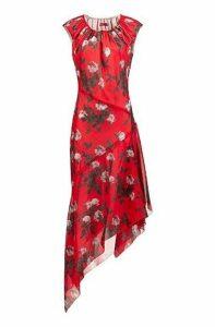 Asymmetric-hem dress with floral print and drawstring neckline