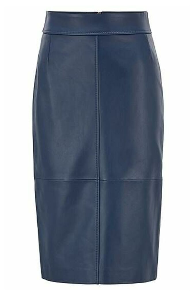Regular-fit pencil skirt in lambskin