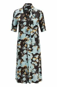 Tie-front dress with abstract floral print